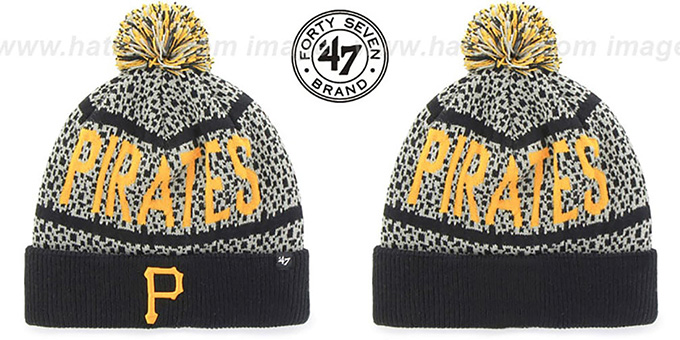 Pirates 'BEDROCK' Black-Grey Knit Beanie Hat by Twins 47 Brand : pictured without stickers that these products are shipped with