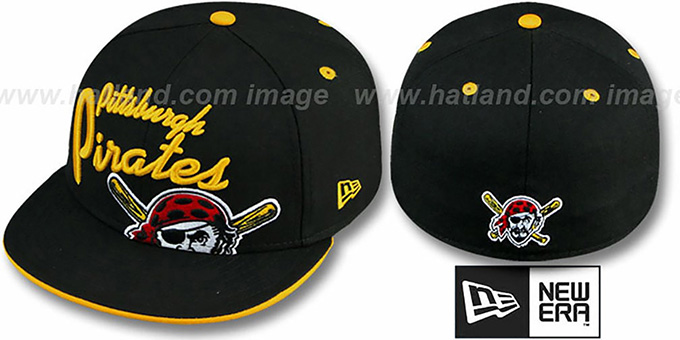 Pirates 'BIG-SCRIPT' Black Fitted Hat by New Era : pictured without stickers that these products are shipped with