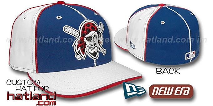 Pirates BP 'PINWHEEL-3' Royal-White Fitted Hat by New Era : pictured without stickers that these products are shipped with