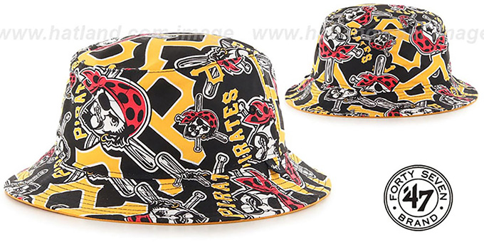 Pirates 'BRAVADO BUCKET' Hat by Twins 47 Brand : pictured without stickers that these products are shipped with