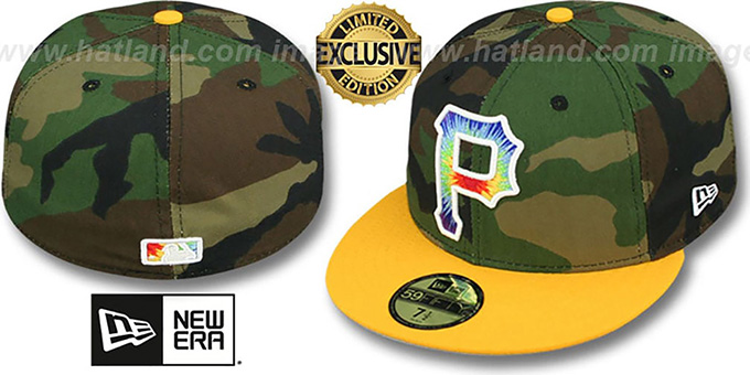 Pirates 'CAMO TYE-DYE INSIDER' Army-Gold Fitted Hat by New Era : pictured without stickers that these products are shipped with