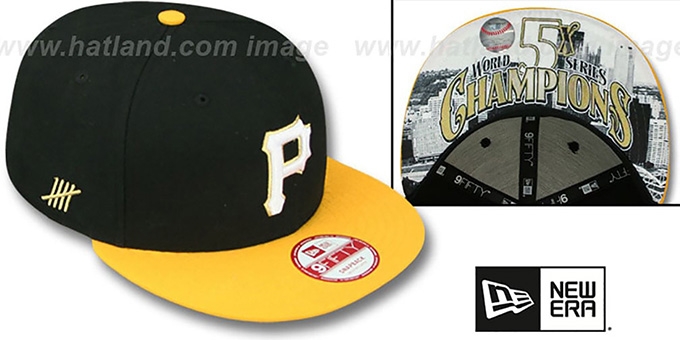 Pirates 'CHAMPS-HASH SNAPBACK' Black-Gold Hat by New Era : pictured without stickers that these products are shipped with