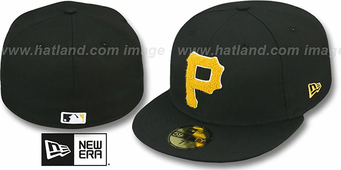 Pirates 'CHENILLE APPLIQUE' Black Fitted Hat by New Era : pictured without stickers that these products are shipped with
