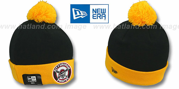 Pirates 'CIRCLE' Black-Gold Knit Beanie Hat by New Era : pictured without stickers that these products are shipped with