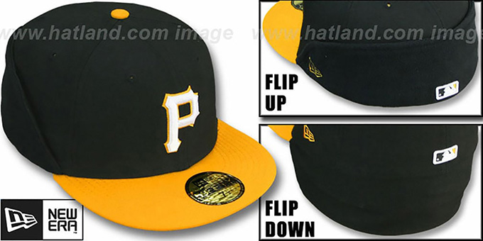 Pirates 'CLEAN CUT FLIP-DOWN' Black-Gold Fitted Hat by New Era : pictured without stickers that these products are shipped with