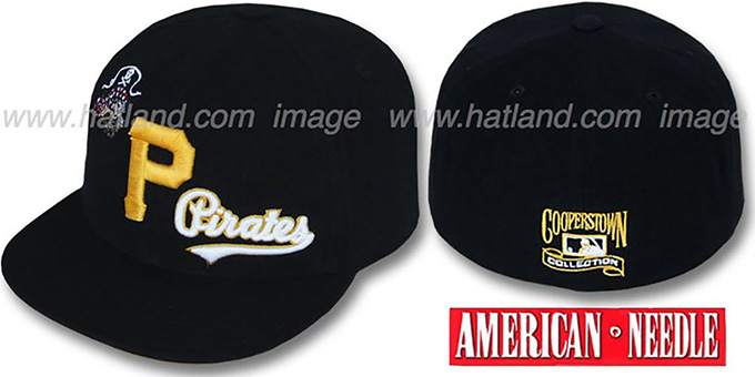 Pirates 'DAY CAMP' Black Fitted Hat by American Needle : pictured without stickers that these products are shipped with