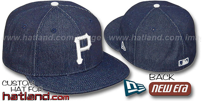Pirates 'DENIM' Fitted Hat by New Era - navy : pictured without stickers that these products are shipped with