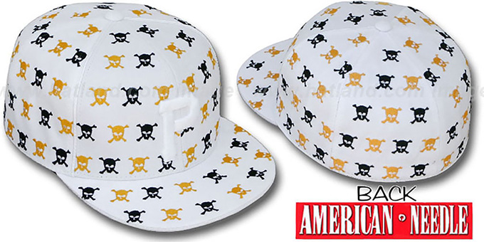 Pirates 'DICE ALL-OVER' White Fitted Hat by American Needle : pictured without stickers that these products are shipped with