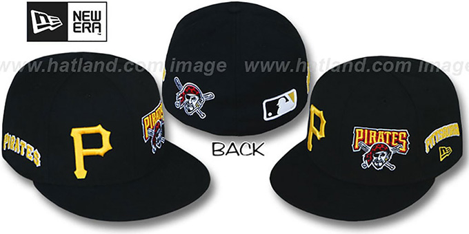 Pirates 'EVOLUTION' Fitted Hat by New Era - black : pictured without stickers that these products are shipped with