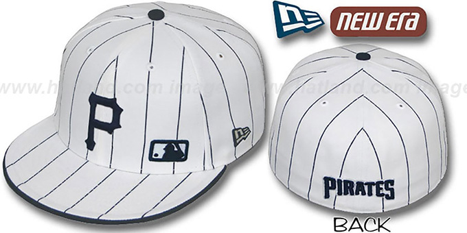 Pirates 'FABULOUS' White-Navy Fitted Hat by New Era : pictured without stickers that these products are shipped with