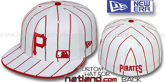 Pirates 'FABULOUS' White-Red Fitted Hat by New Era : pictured without stickers that these products are shipped with