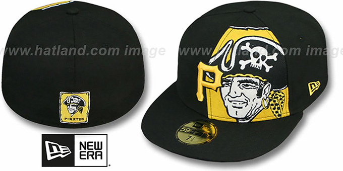 Pirates 'FUNKY MASCOT' Black Fitted Hat by New Era : pictured without stickers that these products are shipped with