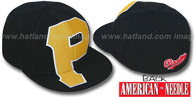 Pirates 'GETTIN-BIGGER' Black Fitted Hat by American Needle : pictured without stickers that these products are shipped with