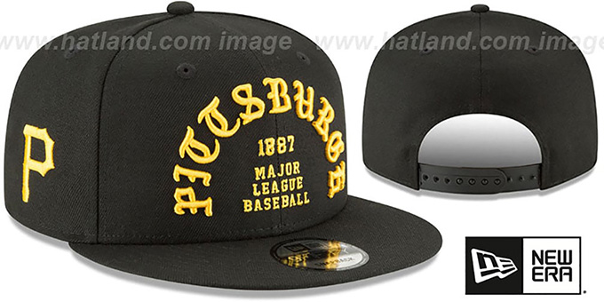 Pirates 'GOTHIC-ARCH SNAPBACK' Black Hat by New Era