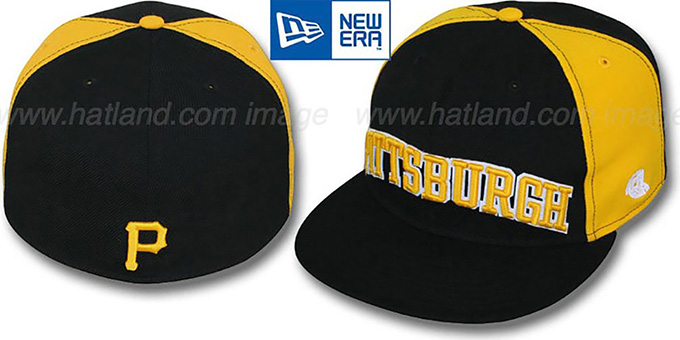Pirates 'JMACK ARCH' Black-Gold Fitted Hat by New Era : pictured without stickers that these products are shipped with