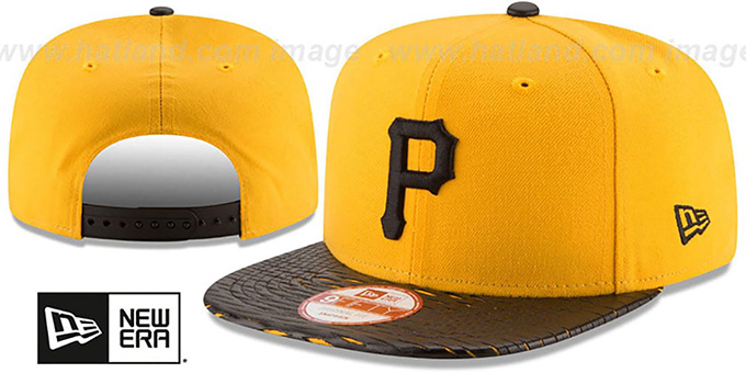 Pirates 'LEATHER-RIP SNAPBACK' Gold-Black Hat by New Era : pictured without stickers that these products are shipped with