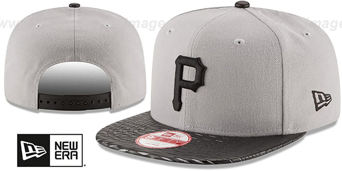Pirates 'LEATHER-RIP SNAPBACK' Grey-Black Hat by New Era : pictured without stickers that these products are shipped with