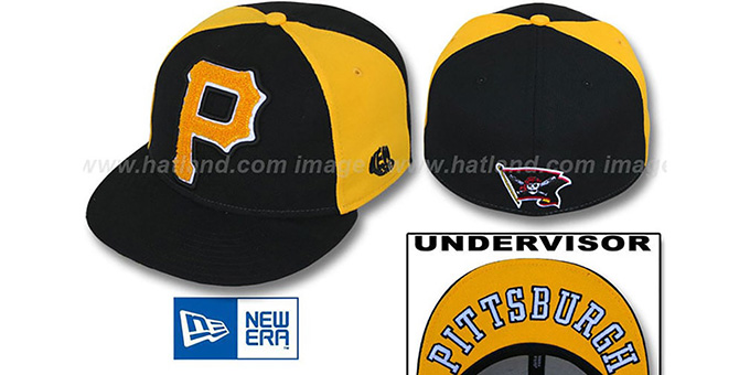 Pirates 'LETTERMAN' Black-Gold Fitted Hat by New Era : pictured without stickers that these products are shipped with