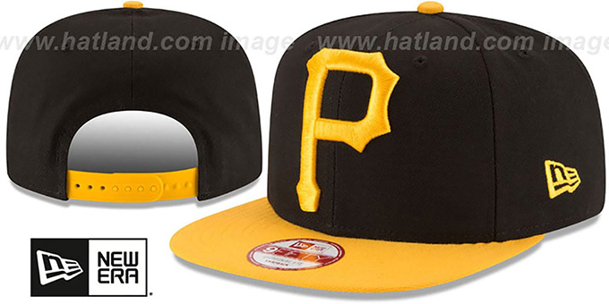 Pirates 'LOGO GRAND REDUX SNAPBACK' Black-Gold Hat by New Era : pictured without stickers that these products are shipped with