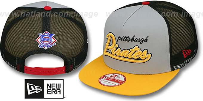 Pirates 'MARK-MESH A-FRAME SNAPBACK' Hat by New Era : pictured without stickers that these products are shipped with