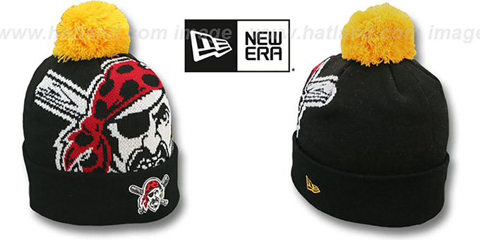Pirates 'MLB-BIGGIE' Black Knit Beanie Hat by New Era : pictured without stickers that these products are shipped with