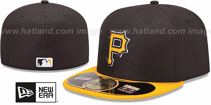 Pirates 'MLB DIAMOND ERA' 59FIFTY Black-Gold BP Hat by New Era : pictured without stickers that these products are shipped with