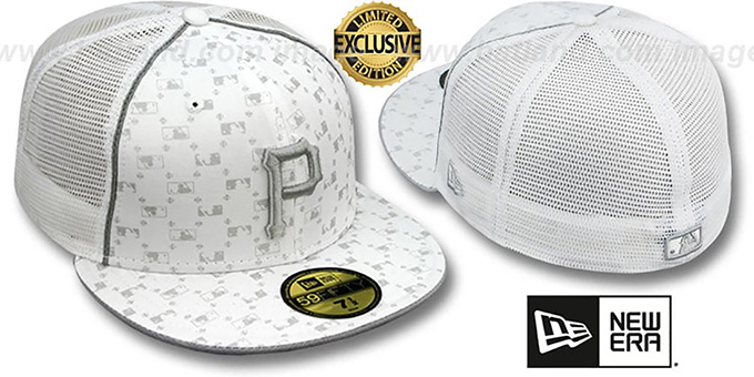 Pirates 'MLB FLOCKING' MESH-BACK White Fitted Hat by New Era : pictured without stickers that these products are shipped with