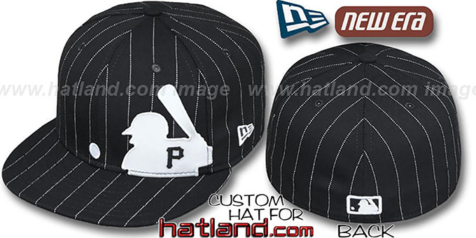 Pirates 'MLB SILHOUETTE PINSTRIPE' Black-White Fitted Hat by New Era : pictured without stickers that these products are shipped with