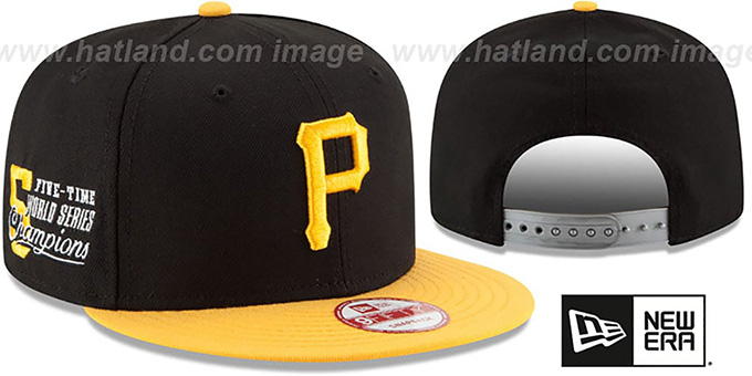 Pirates 'MLB STAR-TRIM SNAPBACK' Black-Gold Hat by New Era : pictured without stickers that these products are shipped with