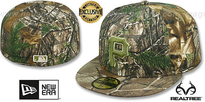 Pirates 'MLB TEAM-BASIC' Realtree Camo Fitted Hat by New Era : pictured without stickers that these products are shipped with