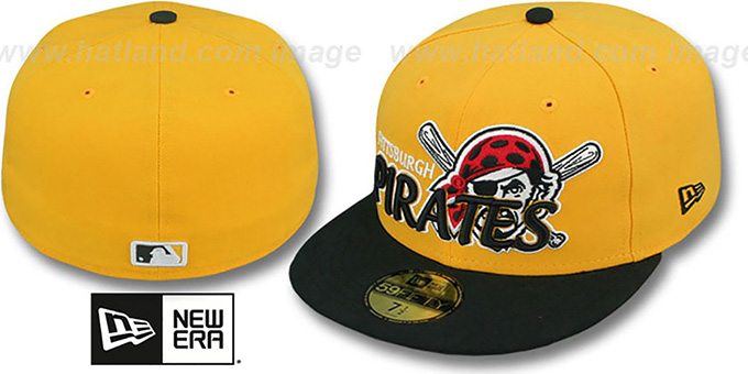 Pirates 'MLB-TIGHT' Gold-Black Fitted Hat by New Era : pictured without stickers that these products are shipped with