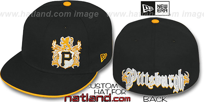 Pirates 'OLD ENGLISH SOUTHPAW' Black-Gold Fitted Hat by New Era : pictured without stickers that these products are shipped with