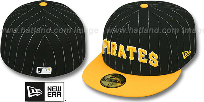 Pirates 'PIN-SCRIPT' Black-Gold Fitted Hat by New Era : pictured without stickers that these products are shipped with