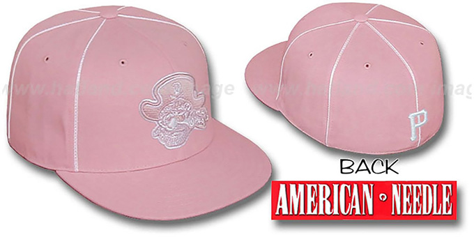 Pirates 'PINK CADDY' Fitted Hat by American Needle : pictured without stickers that these products are shipped with