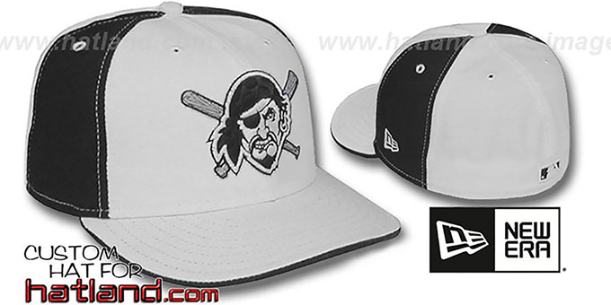 Pirates 'PINWHEEL' White-Black Fitted Hat by New Era : pictured without stickers that these products are shipped with