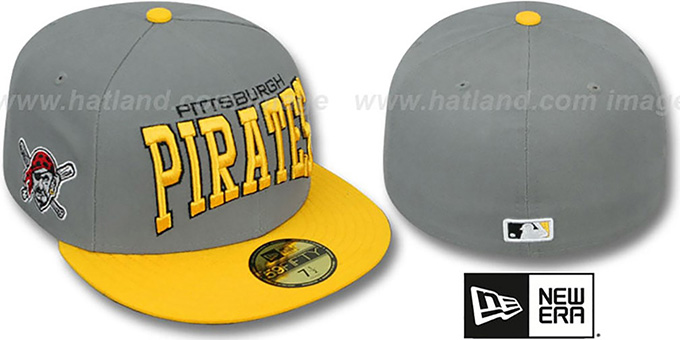 Pirates 'PRO-ARCH' Grey-Gold Fitted Hat by New Era : pictured without stickers that these products are shipped with