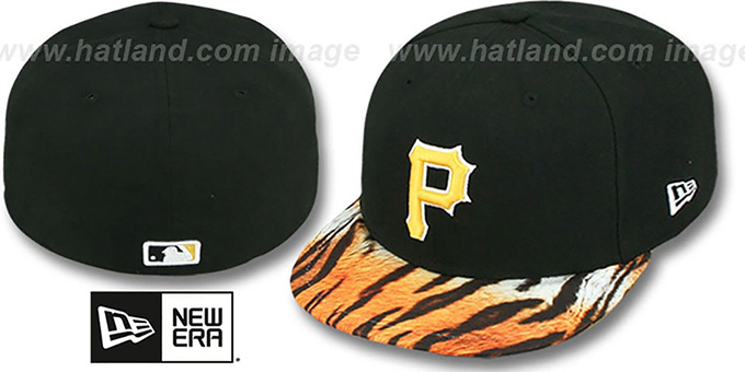 Pirates 'REAL TIGER VIZA-PRINT' Black Fitted Hat by New Era : pictured without stickers that these products are shipped with