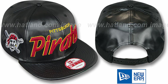 Pirates 'REDUX SNAPBACK' Black Hat by New Era : pictured without stickers that these products are shipped with