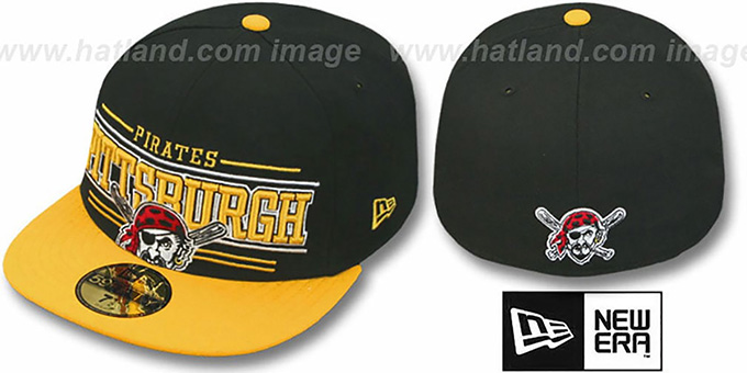 Pirates 'RETRO-SMOOTH' Black-Gold Fitted Hat by New Era : pictured without stickers that these products are shipped with