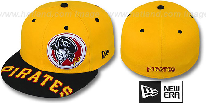 Pirates 'ROTUND' Gold-Black Fitted Hat by New Era : pictured without stickers that these products are shipped with
