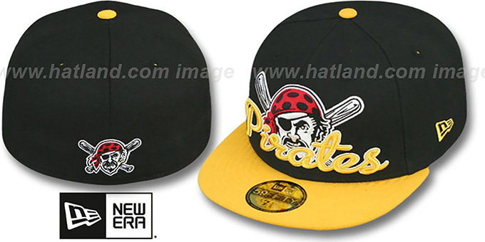 Pirates 'SCRIPT-PUNCH' Black-Gold Fitted Hat by New Era : pictured without stickers that these products are shipped with