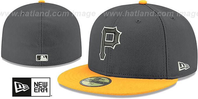 Pirates 'SHADER MELT-2' Grey-Gold Fitted Hat by New Era : pictured without stickers that these products are shipped with