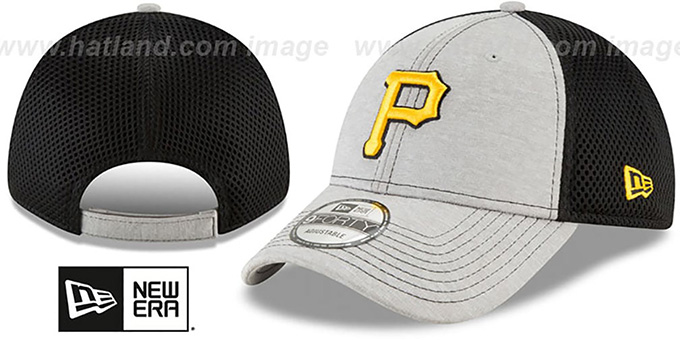 Pirates 'SHADOW TURN STRAPBACK' Grey-Black Hat by New Era : pictured without stickers that these products are shipped with