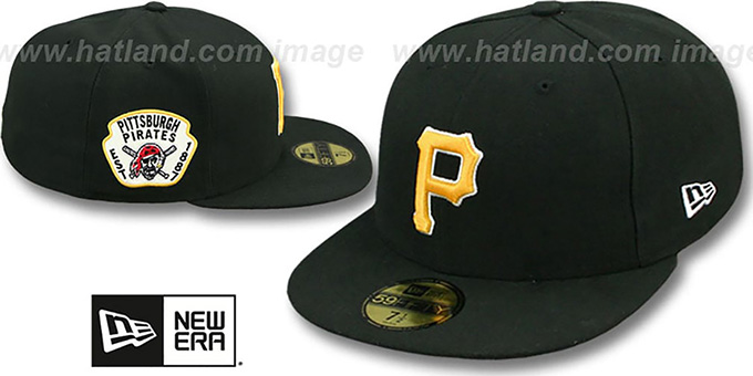 Pirates 'SIDE TEAM-PATCH' Black Fitted Hat by New Era : pictured without stickers that these products are shipped with