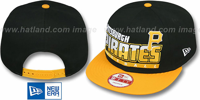 Pirates 'SLICE-N-DICE SNAPBACK' Black-Gold Hat by New Era : pictured without stickers that these products are shipped with