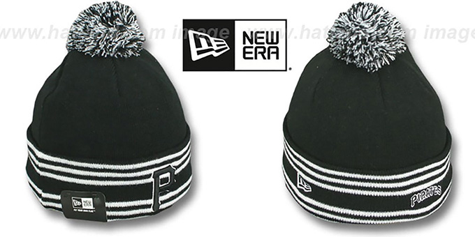 Pirates 'SPORT-KNIT' Black-Black Beanie Hat by New Era : pictured without stickers that these products are shipped with