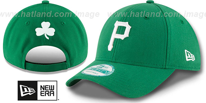 Pirates 'ST PATRICKS DAY' Green Strapback Hat by New Era : pictured without stickers that these products are shipped with