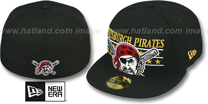 Pirates 'STAR STUDDED' Black Fitted Hat by New Era : pictured without stickers that these products are shipped with