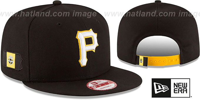 Pirates 'STATE STARE SNAPBACK' Black Hat by New Era : pictured without stickers that these products are shipped with