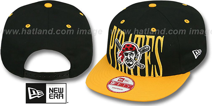 Pirates 'STEP-ABOVE SNAPBACK' Black-Gold Hat by New Era : pictured without stickers that these products are shipped with